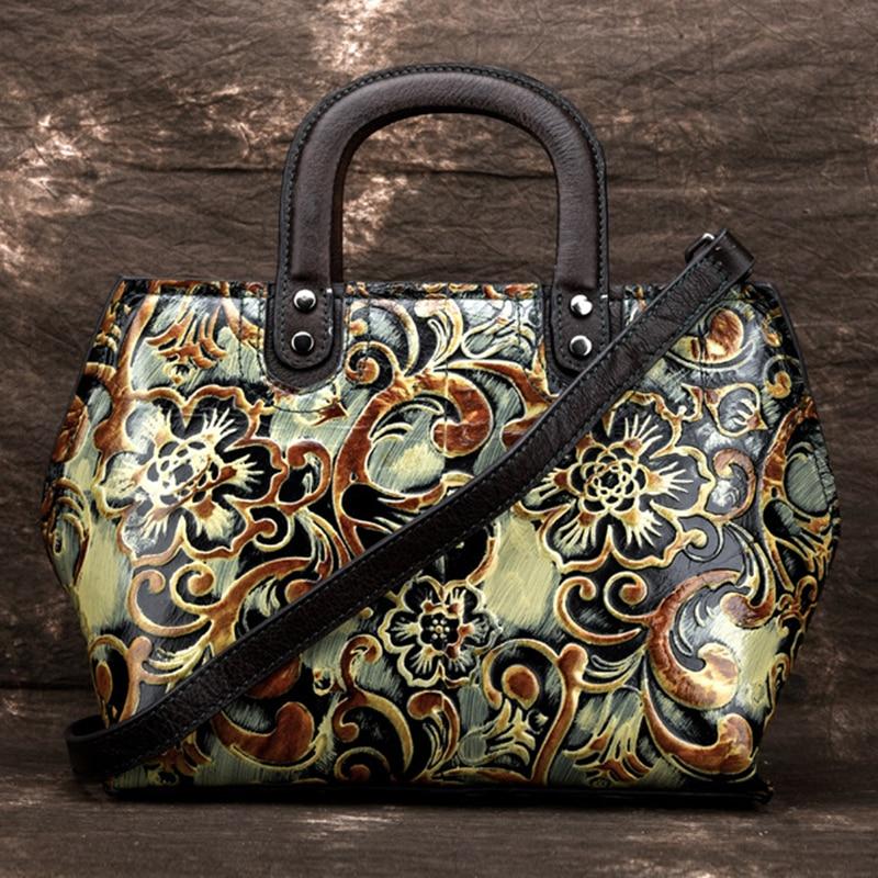 New Women Genuine Leather Messenger Shoulder Bags Handbag Embossed Female Retro Cowhide Cross Body Tote Purse