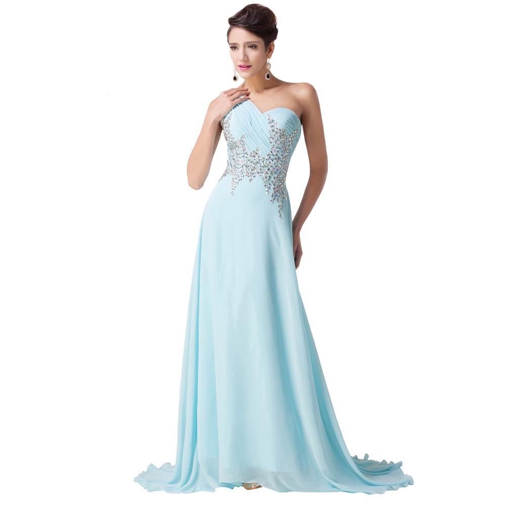 Aliexpress.com : Buy One Shoulder Elegant Long Light Blue Prom ...