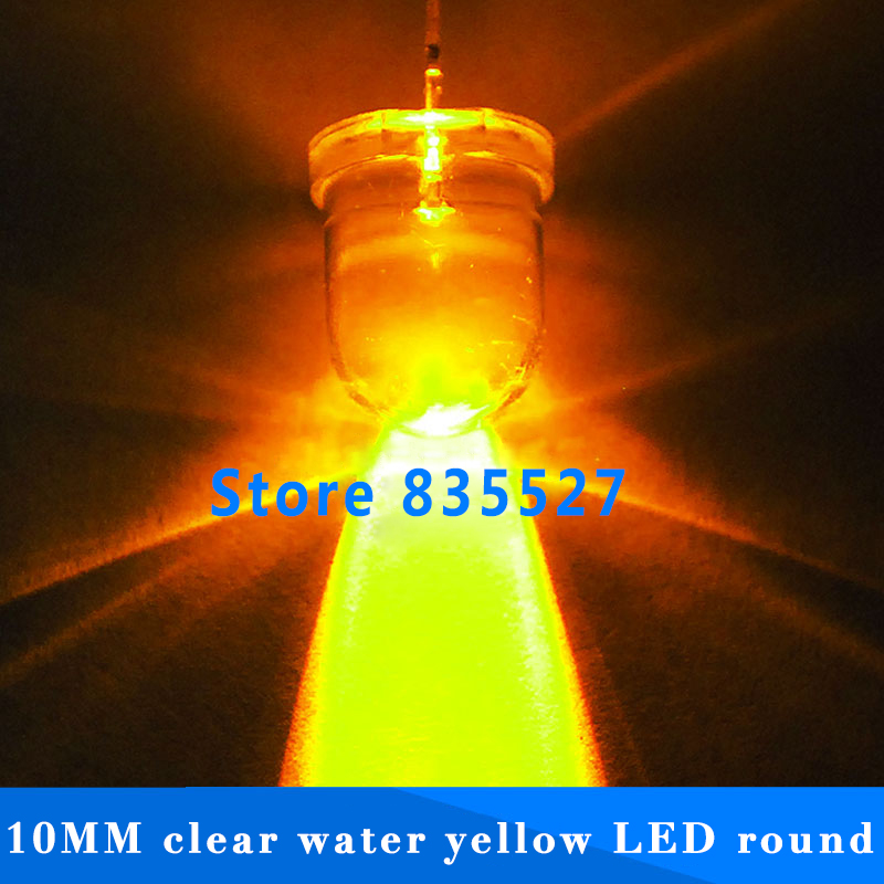 20pcs/lot F10 Round Water Clear 10mm Yellow LED Super Bright Light Lamp Beads Emitting Diode Diodes DIP For DIY Lights Head