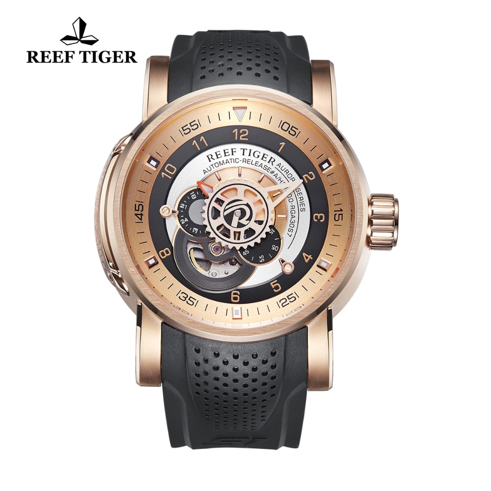 Reef Tiger/RT Top Brand Luxury Sport Watches for Men Rose Gold Watches Waterproof Automatic Watch relogio masculino RGA30S7