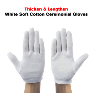 Image 5 - 12 Pairs/Lot White Soft Cotton Stretchable Lining Glove Ceremonial Gloves for Male Female Serving/Waiters/Drivers Gloves