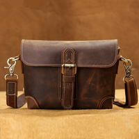 Top Grade Handmade Men Briefcase Real Crazy Horse Leather Briefcase Brand Vintage Style Messenger Shoulder Laptop