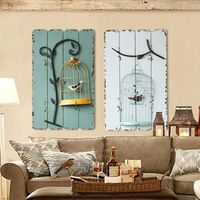 Creative Personality Decorative Mural Wrought Iron Birdcage Stereo Room Wall Hanging Decoration