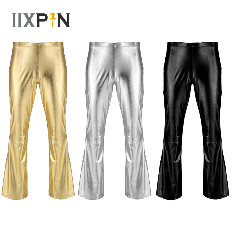 IIXPIN Men Shiny Metallic Disco Pants Bell Bottom Flared Long Pants Dude Costume Trousers Men's Flare Pants Flared Bell Pants