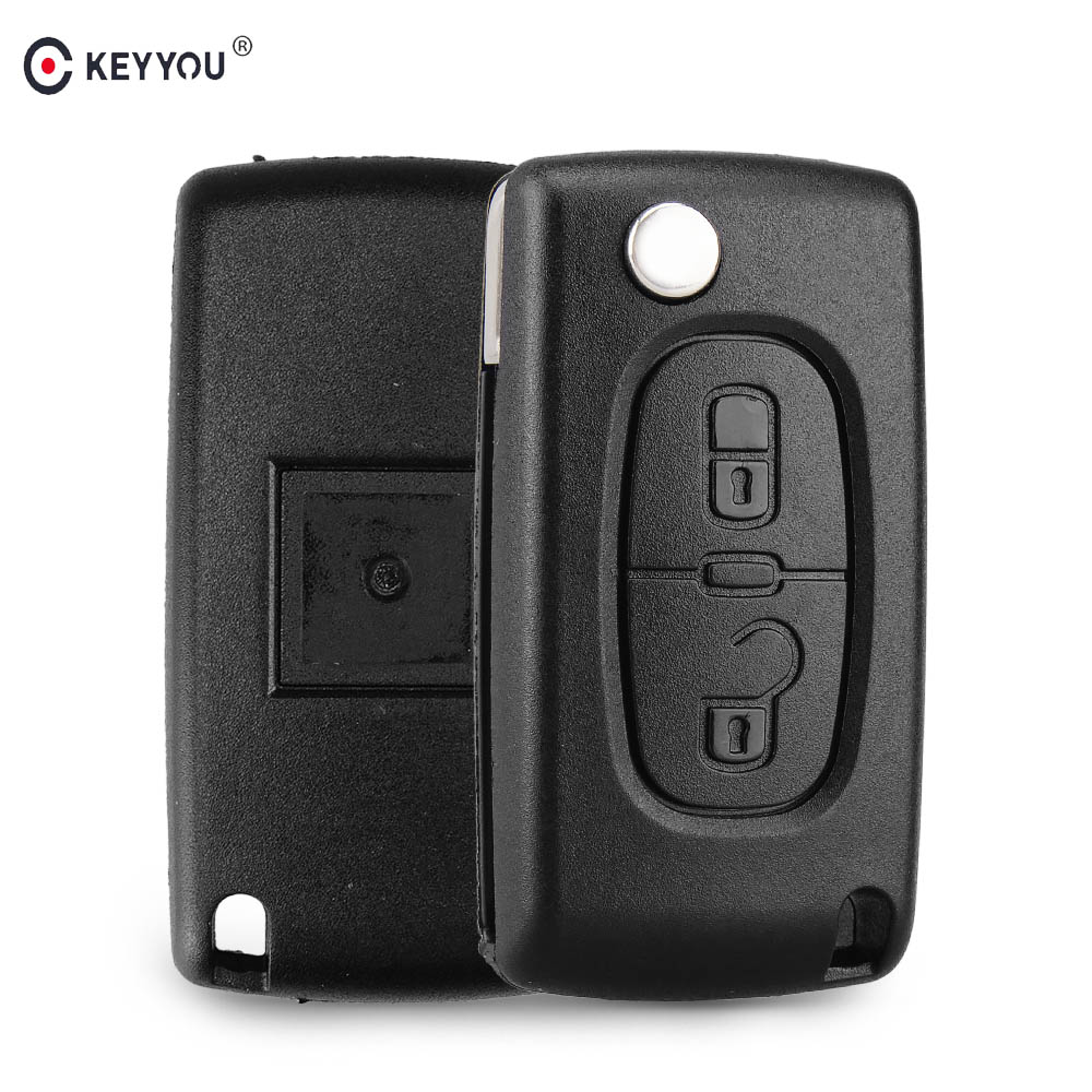 KEYYOU 2 Buttons Remote Flip Car Key Shell Case Fob For Peugeot 107 207 307 307S 308 407 607 Auto Key Case CE0536 HU83/VA2 Blade 2 button flip remote key fob case shell blade keychain for peugeot 207 307 308