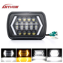 ANYHOW 1/2PCS 7 inch Led car Headlight 55w 6000k 8000LM 5D Halo Angle Eyes Headlamp High/Low beam for 86-95 Jeep Wrangler YJ