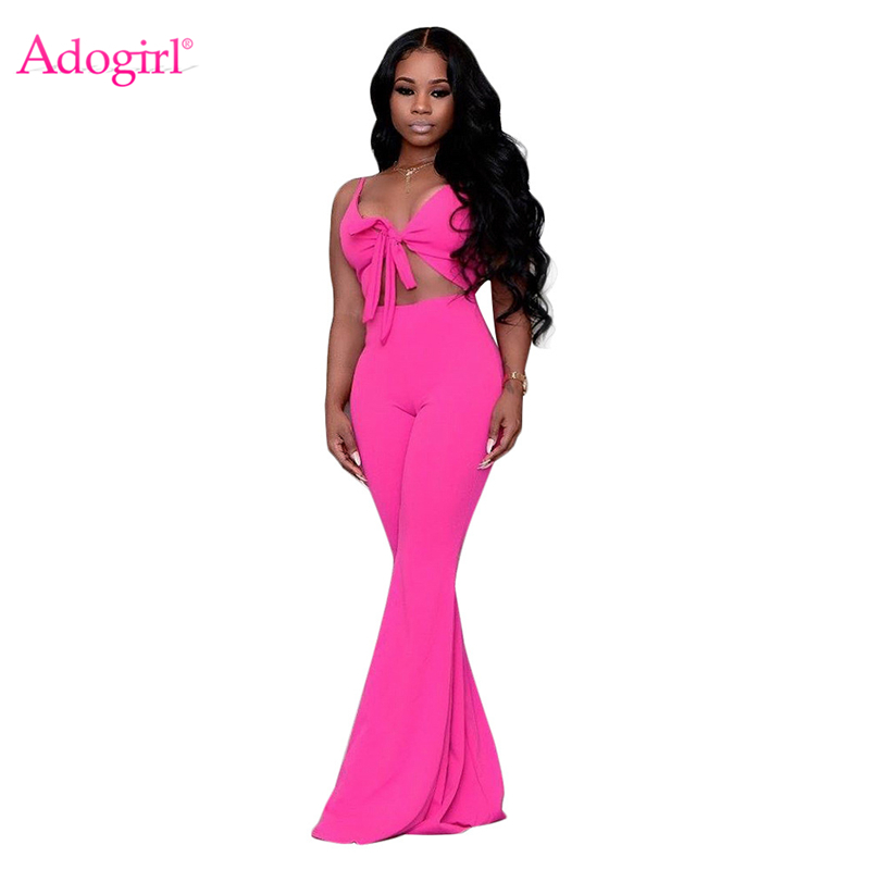 Adogirl Women Sexy Spaghetti Straps Loose Jumpsuit V Neck Front Tie Hollow Out Sleeveless Romper Wide Leg Pants Playsuits