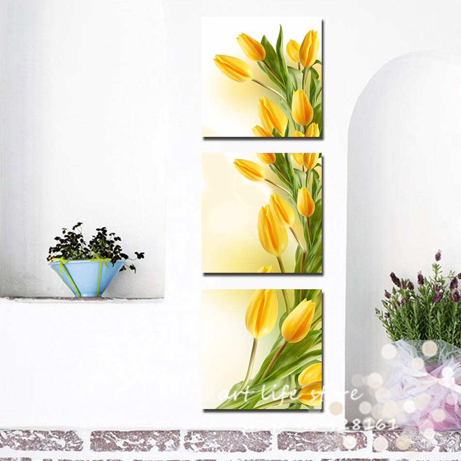 modern abstract 3 panel wall art yellow tulip flower print on canvas ...