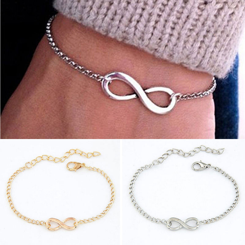 Silvertone Number Friends Infinity Toggle Chain Bracelet 8 1