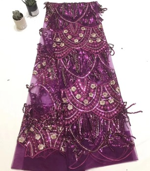 purple lace fabric tissus africains guipure tulles perlage high quality nigerian lace fabric net lace with sequins TS7548