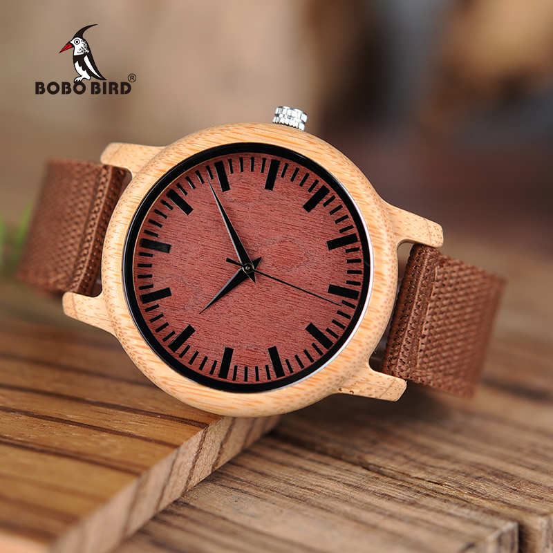 BOBO BIRD L-D09 Fashion Bamboo Wood Watches Red Nylon Straps Wooden Dial Face Watch for Women Men in Gift Boxes