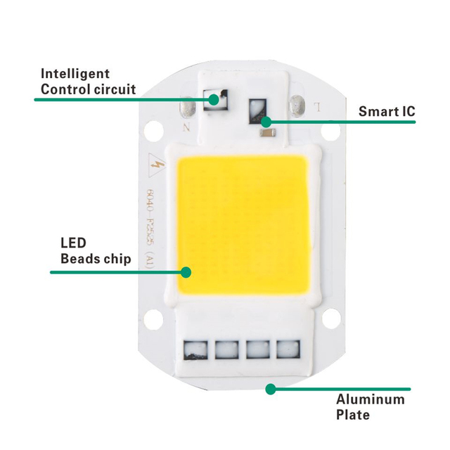 LARZI LED COB Chip 50W 40W 30W 20W 10W 110V 220V Smart IC Input High Lumens Chip For DIY LED Floodlight Spotlight Light C