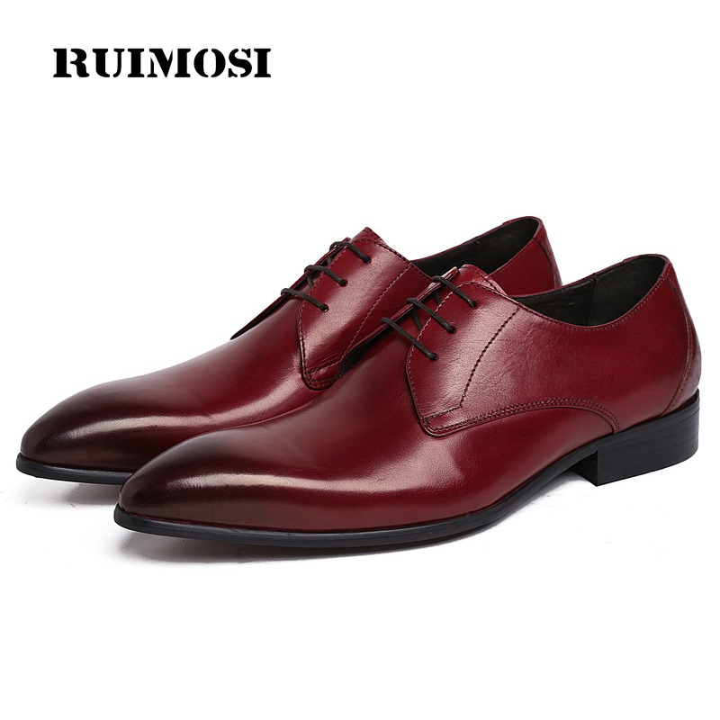 RUIMOSI Famous Luxury Man Dress Party Shoes Genuine Leather Formal Wedding Oxfords Pointed Toe Derby Men's Bridal Flats UH28