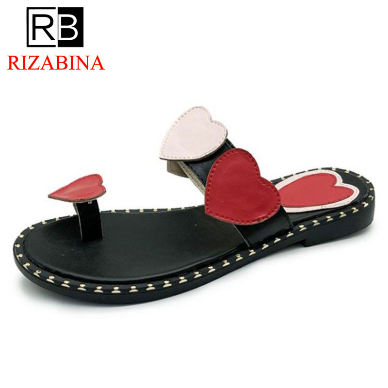 RizaBina Women Slippers Open Toe Flat Heels Heart Mixed Color Ladies Summer Shoes Sweet Korean Shoes Daily Footwear Size 35-39