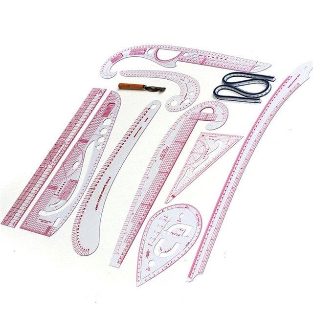 10 個多機能服サンプル切断定規メトリック尺度定規描画テーラー定規曲線尺度縫製ツール
