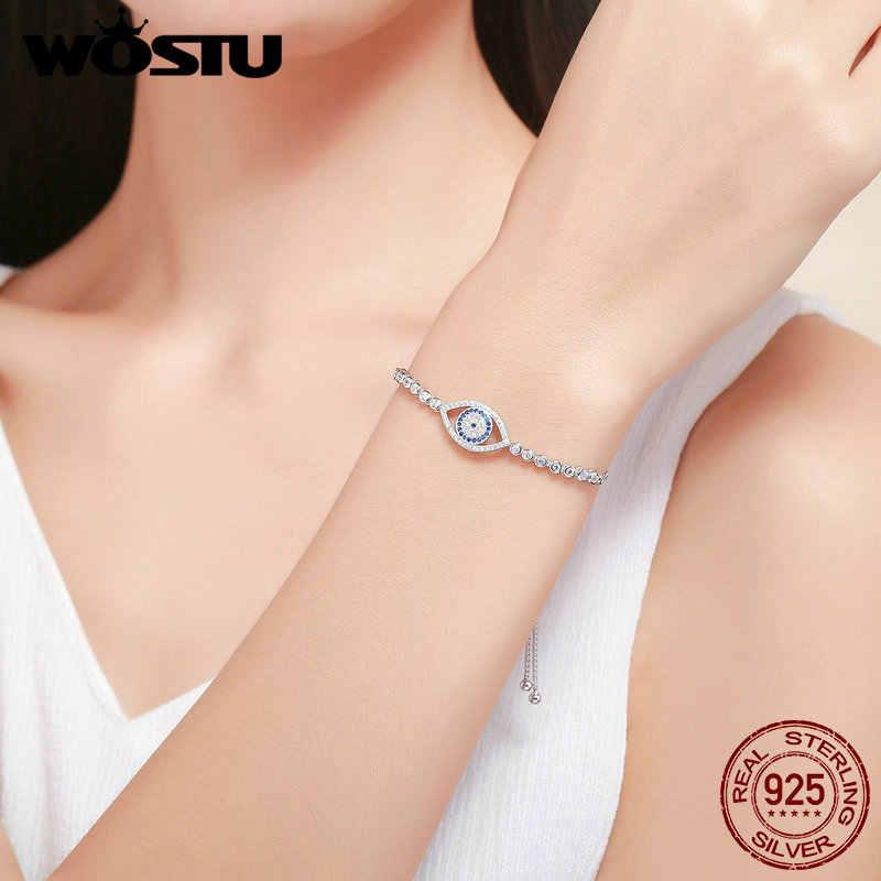 WOSTU mode nouveau 100% 925 en argent Sterling bleu oeil Tennis Bracelet femmes à lacets lien chaîne Bracelet bijoux en argent FIB034