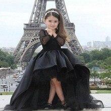 Siyah Çiçek Kız Elbise Pageant elbise Jewel Uzun Kollu Toddlers Için  Gençler Çocuklar Resmi Doğum Günü 67559c26ddbe