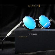 Diseño redondo del metal gafas de sol polarizadas mujeres de la vendimia de steampunk gafas de sol de marca oculos gafas de sol feminino uv400 2017 new