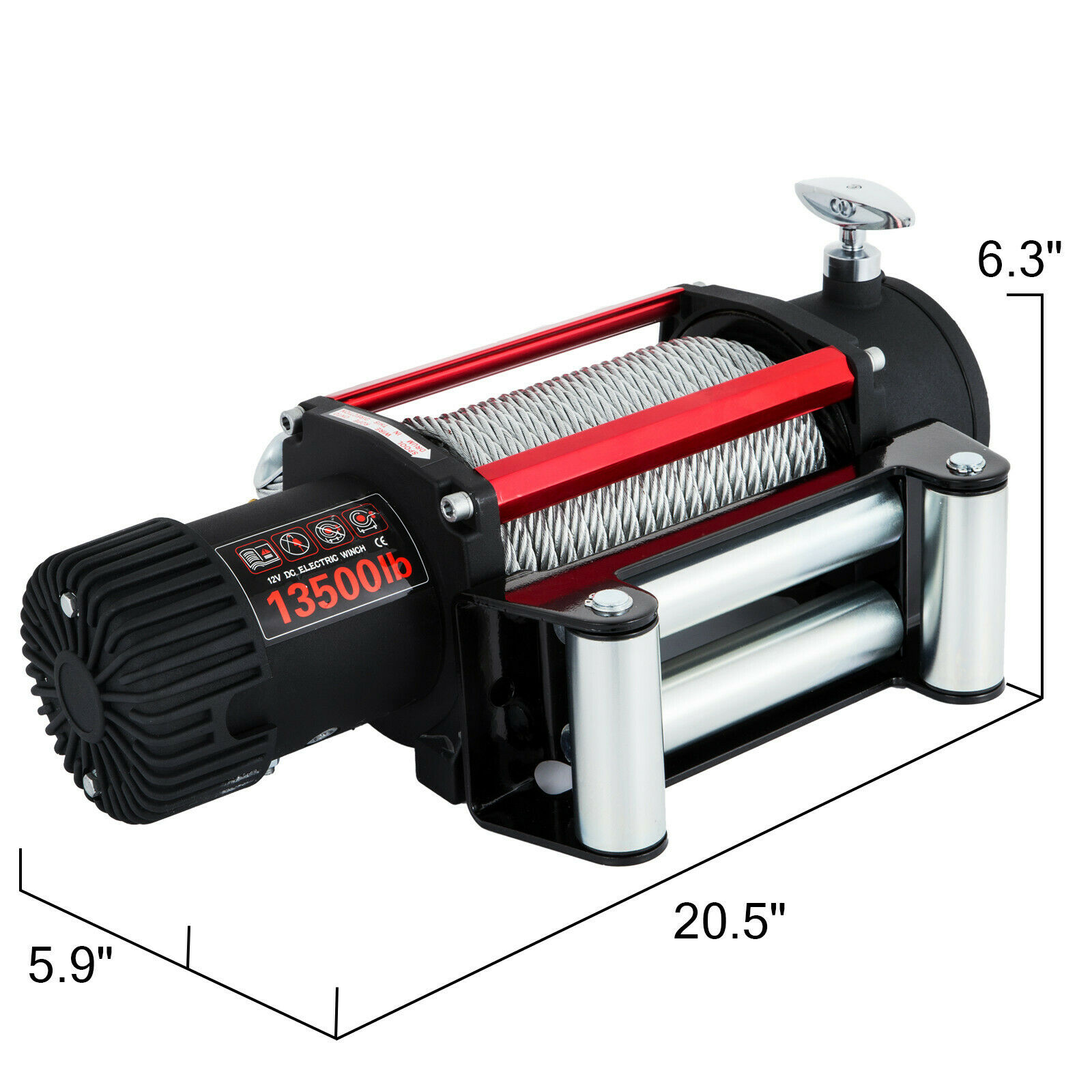 Winch Motor Electric Winch Rope 12V Traction 6123KG 13500lbs Boat Rope Cable Winch