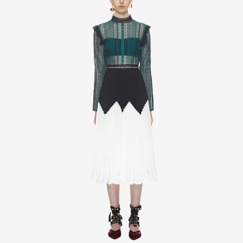 2019 nouveau printemps automne haute qualité élégant voir à manches longues en dentelle mousseline de soie robe plissée femmes vert blanc Patchwork robe