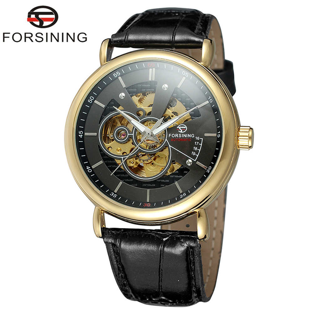 где купить FORSINING Brand Men Genuine Leather Band Automatic Mechanical Watch Skeleton Wristwatch Relogio Releges Montre Homme по лучшей цене