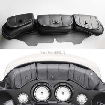 New Windshield Bag Saddle 3 Pouch Pocket Fairing Fits For Harley FLHT FLHTC FLHX Touring