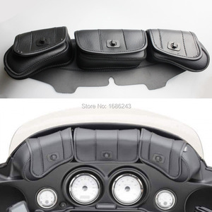 New Windshield Bag Saddle 3 Pouch Pocket Fairing For Harley Touring Electra Street Glide Road King FLHT FLHTC FLHX
