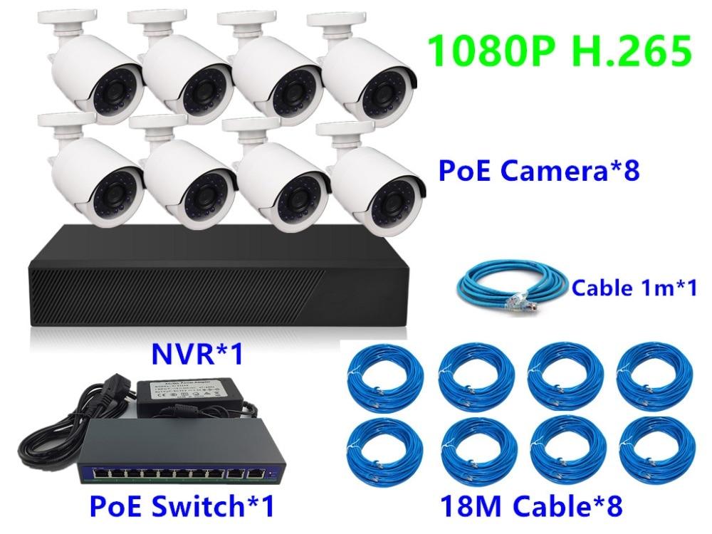 8CH 4CH H 265 1080P HD 2 0MP IP Camera 48V PoE Switch NVR Network Digital