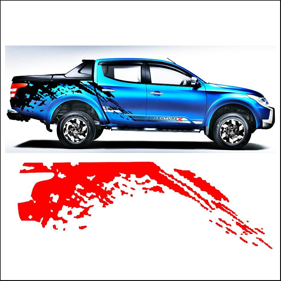 auto nálepky mudslinger boční tělo zadní ocas grafický vinyl auto příslušenství modifikované obtisk vlastní na míru pro MITSUBISHI L200 TRITON 2015