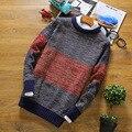 Бесплатная доставка 2017 мода весна с длинными рукавами свитер о-образным вырезом свитера случайные мужчины плюс размер М-5XL мужская одежда