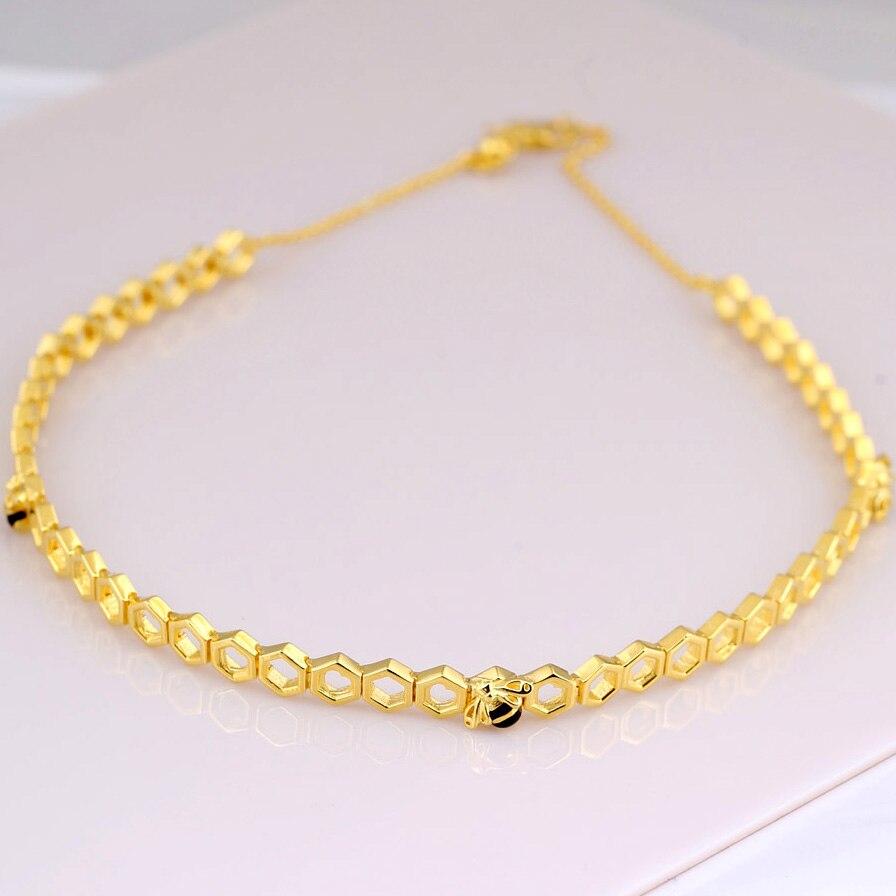 Collier ras du cou en forme de nid d'abeille couleur or pour femmes cadeau de mariage bijoux Europe 925 collier en argent Sterling