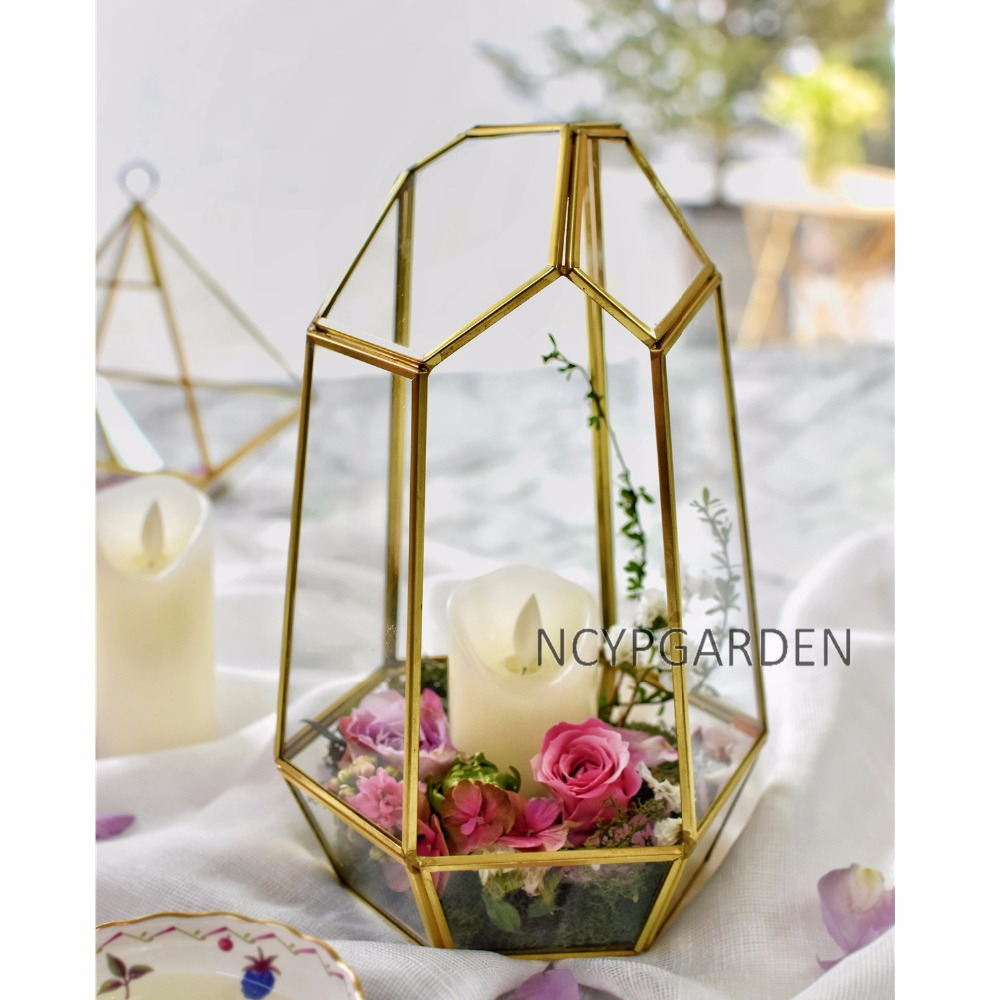 Медь нерегулярные Стекло геометрический суккулентов Террариум коробка ручной работы Дисплей цветочный горшок сеялки центральным для Кофе...