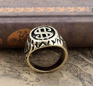 tiger totem FreeShipping gift Bags Wholesale hotsell Antique crystal Rhine stone fashion jewelry Gothic Dollar sign $ rings 19#