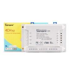 Itead Sonoff 4CH R2 Wifi Smart Switch 4 Gang Draadloze Afstandsbediening WiFi Lichtschakelaar App Controle Smart Home 10A 2200 W Werkt met Google