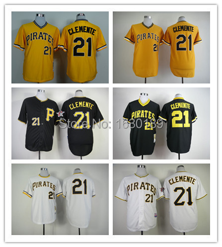 7ffdc416a ... Cheap Pittsburgh Pirates Jersey 21 Roberto Clemente baseball Jerseys  cool base white gray yellow black sports ...