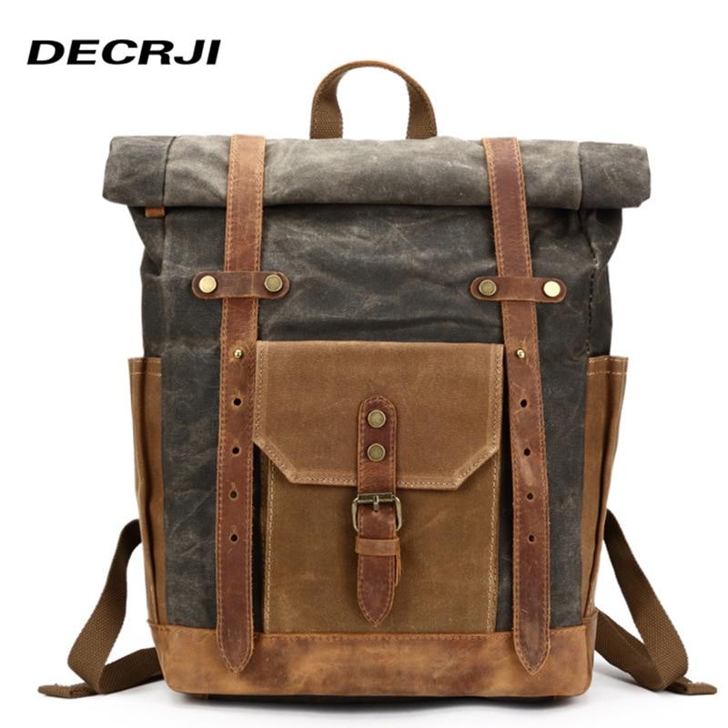 DECRJI décontracté Crazy Horse cuir hommes sac à dos sac de voyage Vintage toile sac à dos pour ordinateur portable homme grand espace sacs d'école