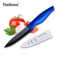 Cuchillo de cerámica de alta calidad, cuchillo de cocina de Zirconi de 4 pulgadas para fruta, cuchillo de corte negro, funda, mango cómodo