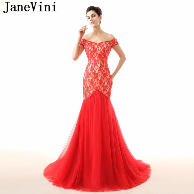 JaneVini 2018 Vintage Lace Red Mermaid Long Bridesmaid Dresses V Neck Beads  Backless Tulle Sweep Train Bestidos De Fiesta Largos 961761e59917