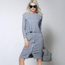 New Autumn Fashion knitted Skirt And Sweater Two Piece Set  Ladies Slim Long Sleeve Twinset leisure Suit Woman Sets of Clothes