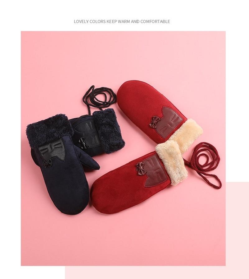 Großhandel Winterhandschuhe Handschuhe Wildleder Hängender Hals Und Kaschmir Warme Ganze Finger Verdicken Mädchen Handschuhe Reizend Von Gwyseller,
