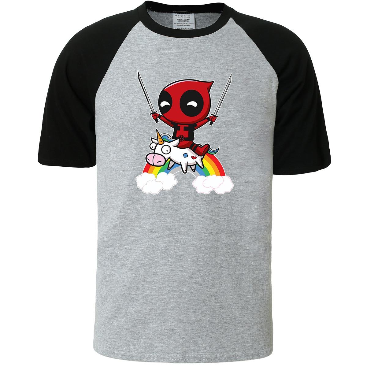 Funny T-shirt For Male Top DEADPOOL Cartoon Animal T Shirt Men 2019 Summer Raglan Sleeve Tshirt Harajuku Men's T-shirts Kpop