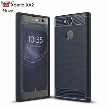 HATOLY For Capa Sony Xperia XA2 Case for Sony XA2 dual H3113 Soft TPU Brushed Rugger Silicon Phone Case For Sony Xperia XA2 dual