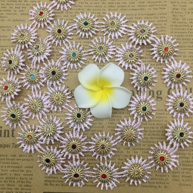 1 Yard Pink Colored Rhinestones Flower Lace Edge Trim Indian style Ribbon  Fabric Embroidered Applique Sewing Craft Wedding Dress 612df57fe0b2