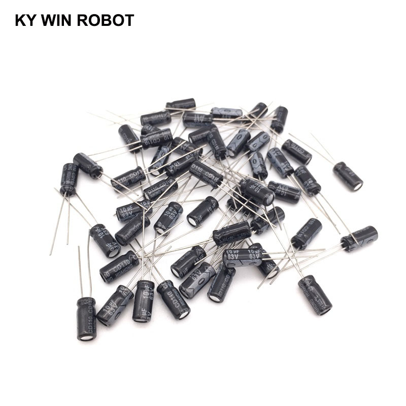 50pcs/lot 10UF 63V 10mf 105C 5X11mm Aluminum Electrolytic Capacitor 63V10UF Radial Lead 50pcs