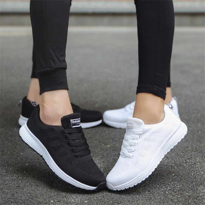 Donne Casual Scarpe Moda scarpe in Mesh Traspirante A Piedi Scarpe Vulcanizzate Donna Bianco scarpe Da Tennis Delle Donne Tenis Feminino Scarpe Da Ginnastica di Sport