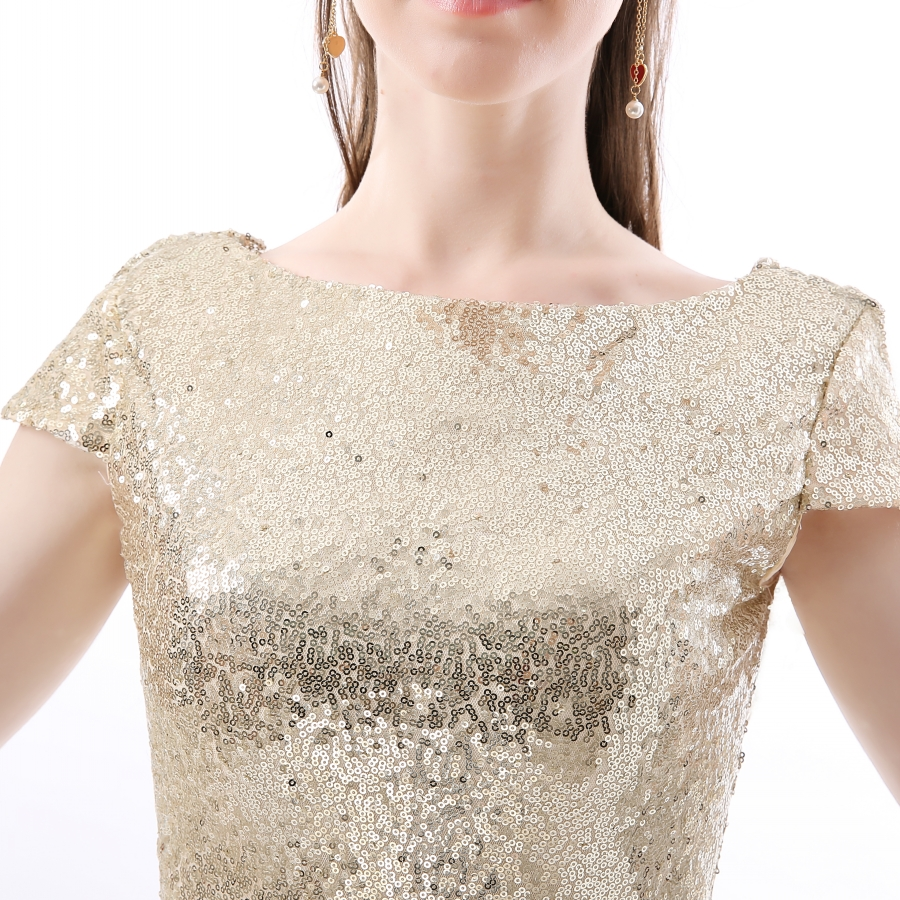 Champagne Sequin Bridesmaid Dresses 2017 Hot Long Wedding Party Dress vestidos de festa vestido longo Prom Dress 7