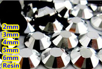 Czarny Jet Hematyt Kolor 2mm, 3mm, 4mm, 5mm, 6mm Aspekty Płaskie powrót Żywica Rhinestone Gems Nail Art Decoration