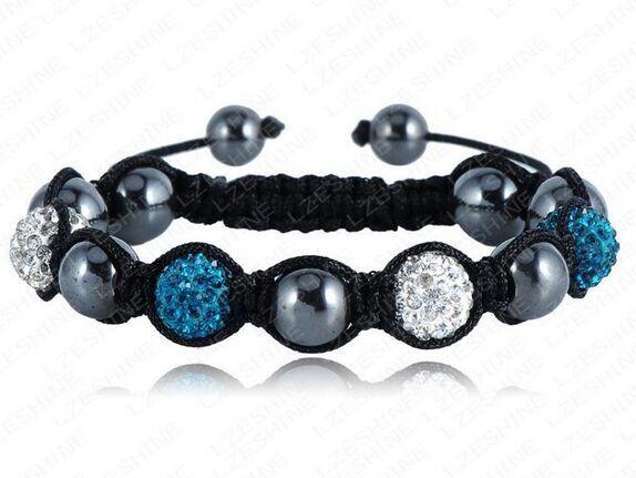 Strand black rope Bracelet&Bangle10mm Handmade white dark blue Mixed bead Crystal stone Clay Ball(4Pcs)Women fashion jewerly