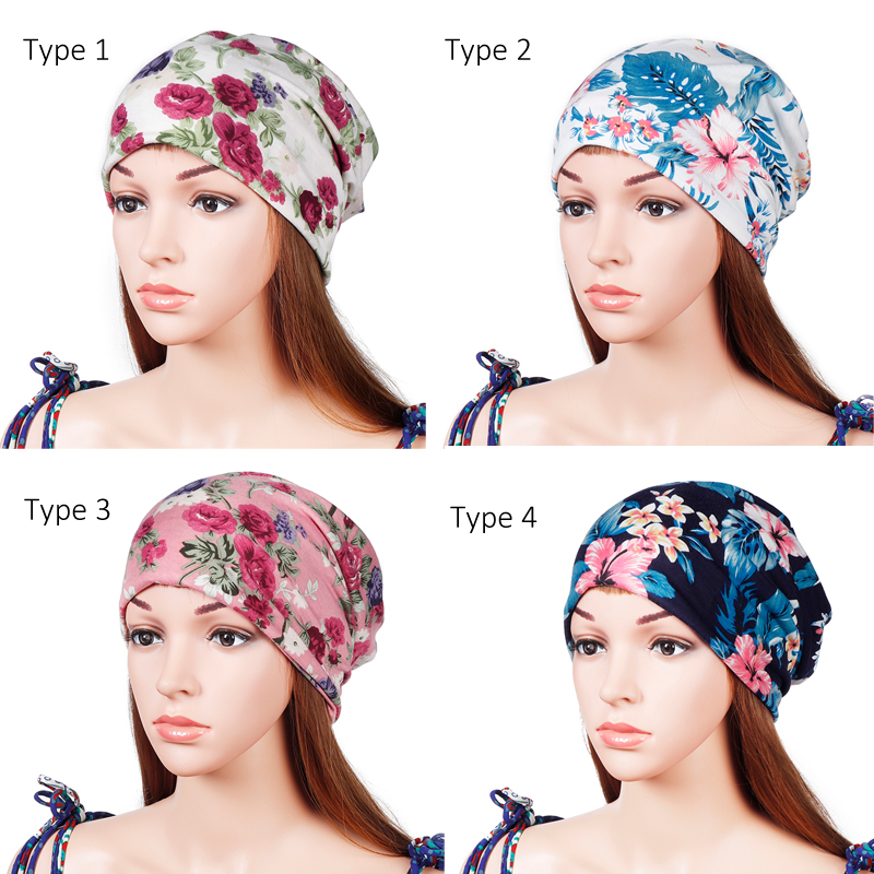 97e98861d3e Lesov Double Use Cotton Turban Hat Summer Spring Printed Flower Elastic  Breathable Beanie Hat Ponytail Cap Headband Gorros New-in Women s Hair  Accessories ...