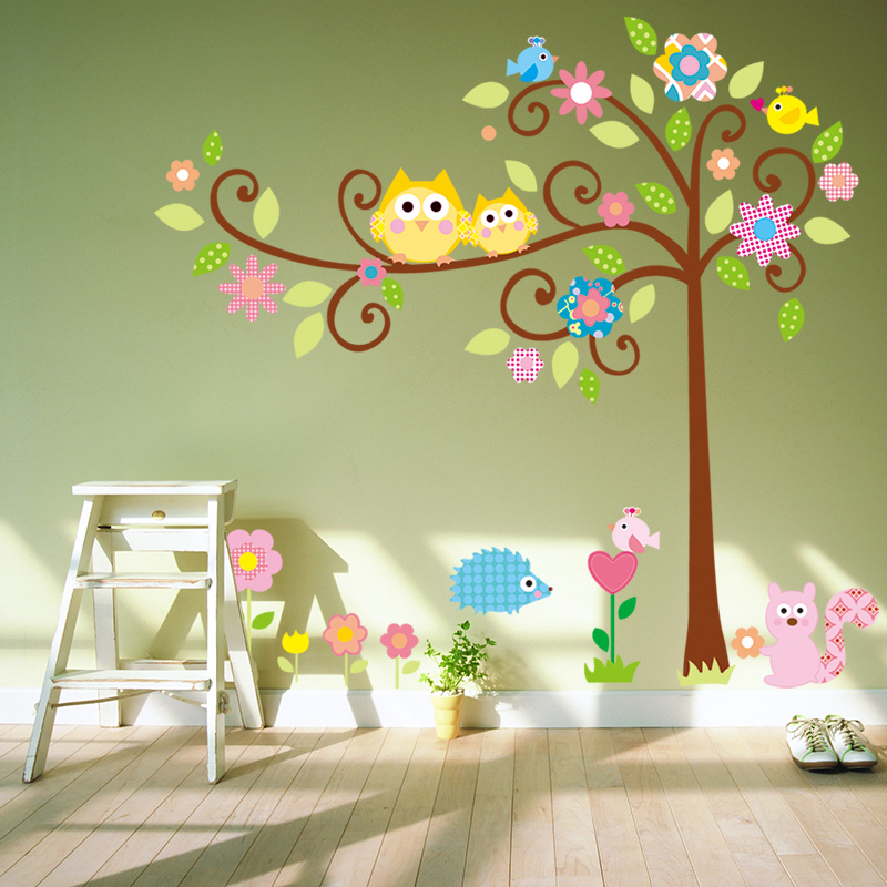 Large Size Cute Owl Tree Wall Sticker Nursery Cartoon Wall Decal Original  Kindergarten Wall Stickers For Kids Rooms Decoration In Wall Stickers From  Home ...